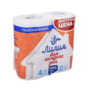 Бумага туалетная Лилия 2х.сл. 4рул.