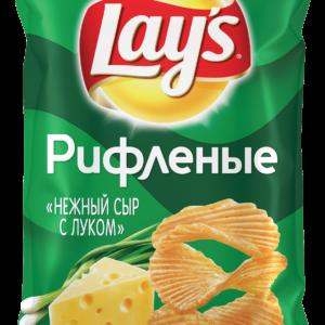 Чипсы Лэйз Рифленые нежный сыр с луком 150г