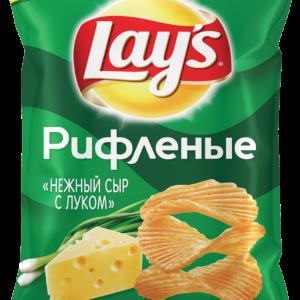 Чипсы Лэйз рифленые нежный сыр с луком 90г