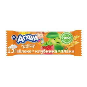 Агуша фруктовый батончик Яблоко-клубника-злаки 15г