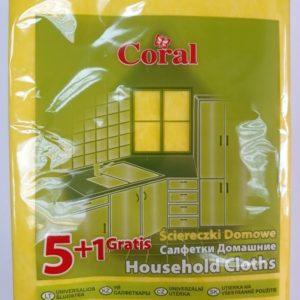 Салфетки домашние 5+1шт Корал
