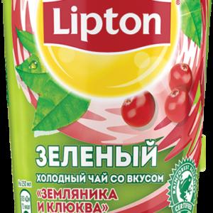 Холодный зелёный чай Липтон Земляника и клюква 0,5л