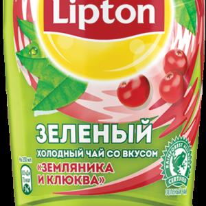 Холодный зелёный чай Липтон Земляника и клюква 1л