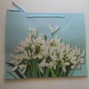 Пакет подарочный 26*32 цветы/ромбы блеск