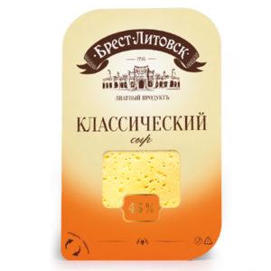 """Сыр """"Брест-Литовск"""" Классический 45% нарезка 150г"""