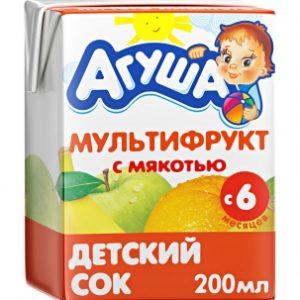 Агуша сок Мультифрукт с мякотью 0,2л