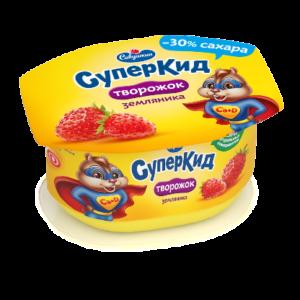 """Творожок """"Савушкин"""" СуперКид земляника 110г БЗМЖ"""