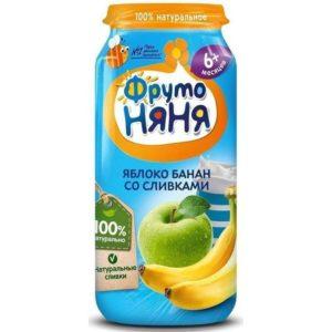 ФрутоНяня Пюре яблоко/банан/сливки 250г
