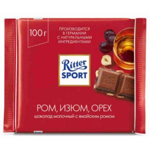 "Шоколад ""Риттер Спорт"" Молочный ром/изюм/орех"
