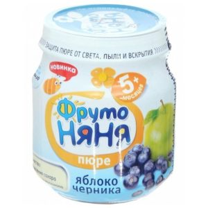 ФрутоНяня Пюре яблоко/черника 100г