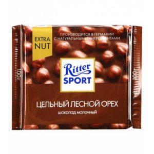 """Шоколад """"Риттер Спорт""""  Молочный цельный лесной орех"""