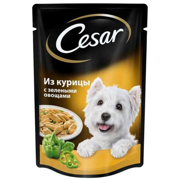 Цезарь Курица с зелеными овощами в соусе 85г.
