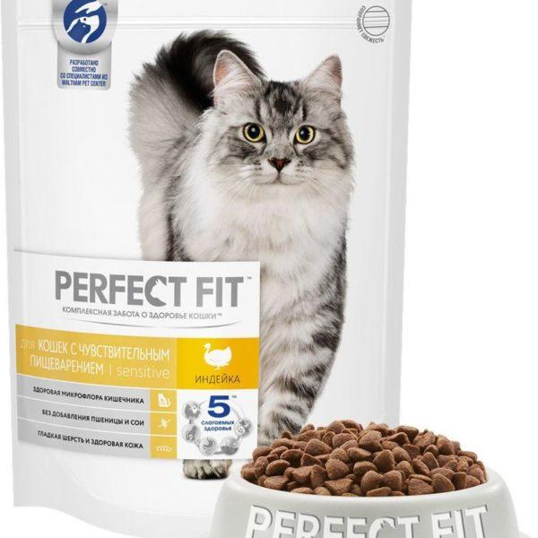 ПерфектФит для кошек с чувствительным пищеварением Индейка 190г