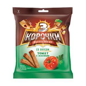 """Сухари """"3 корочки"""" ржаные томат с зелению 100г"""