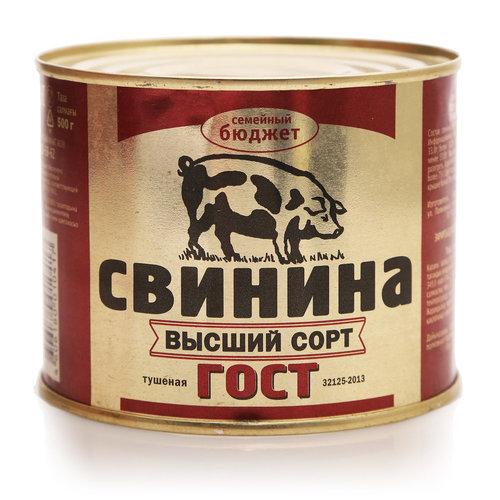"""Свинина тушеная """"Семейный бюджет"""" ГОСТ 500г"""