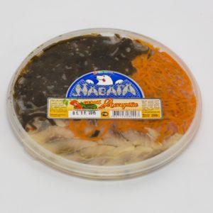 Ассорти салат морская капуста/морковь по-корейски/филе сельди 200г