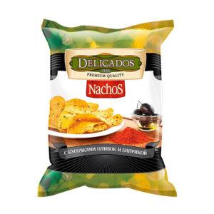 """Чипсы кукурузные """"Delicados"""" Начос 150г Оливки/паприка"""
