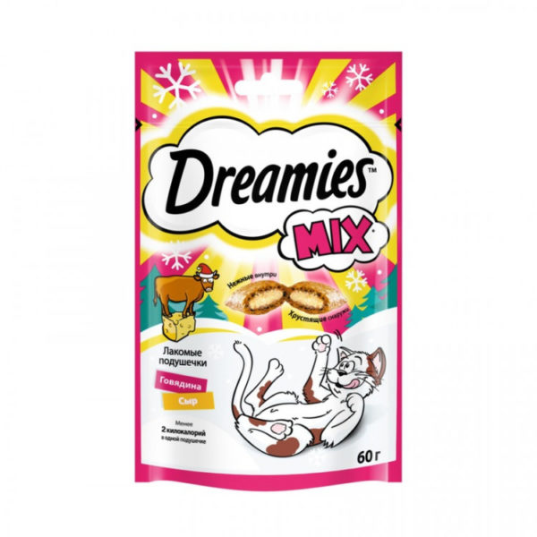 Dreamies Лакомые подушечки для кошек Говядина/сыр 60г
