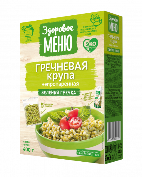 Здоровое меню Гречка зелёная 1/5 400г