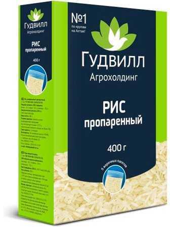 """Рис пропаренный """"Гудвилл"""" 400г 5пакетиков"""