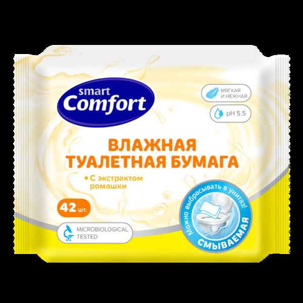 Бумага Smart Comfort влажная 42шт Ромашка