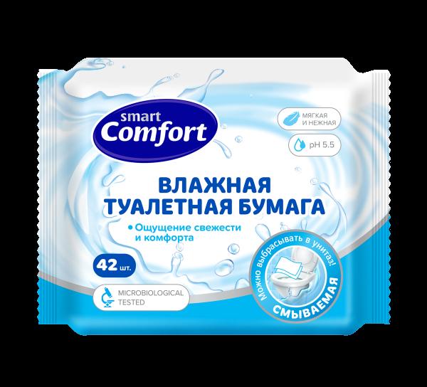 Бумага Smart Comfort влажная 42шт Свежесть