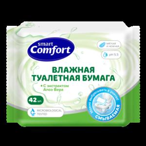 Бумага Smart Comfort влажная 42шт Алоэ